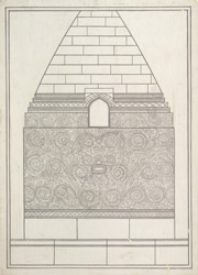 One of the four drawings of details of carvings on the Dhamekh Stupa at Sarnath: The north niche.